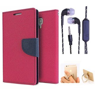 Wallet Flip Cover For Micromax Canvas 2.2 A114  (Pink) With 3.5mm TARANG Stereo Sound Earphones with Mic + Ring Stand Holder (Color May vary)