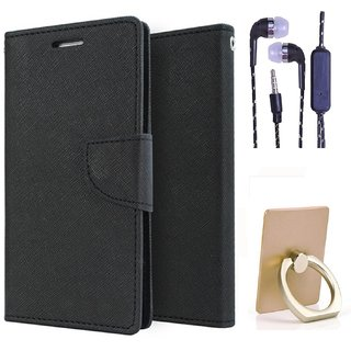 Wallet Flip Cover For Samsung Galaxy Note I9220   (Black) With 3.5mm TARANG Stereo Sound Earphones with Mic + Ring Stand Holder (Color May vary)