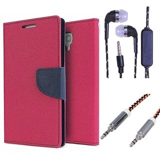 Wallet Flip Cover For HTC One M9 PLUS  (Pink) With 3.5mm TARANG  Earphones with Mic + Metal High Quality 3.5 mm Aux Cable-1 Meter (Color May vary)