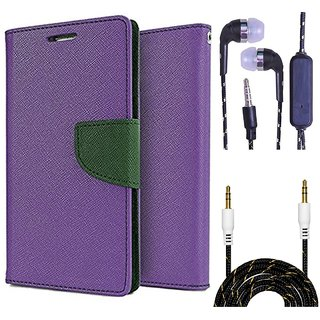 Wallet Flip Cover For Micromax Bolt Q324  (Purple) With 3.5mm TARANG  Earphones with Mic + Fabric 3.5 mm Aux Cable-1 Meter (Color May vary)