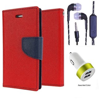 Wallet Flip Cover For Micromax A104 Canvas Fire 2  (Red) With 3.5mm TARANG  Earphones with Mic + 2 Port USB Car Charger Adapter(Color May vary)