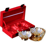 Rangsthali Voguish Designer Brass Gold & Silver Plated Bowl, Tray With Spoon