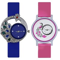Round Dial Blue  Pink Leather Strap Analog Watch For Wo