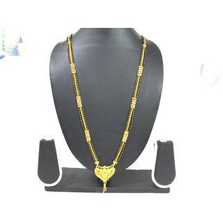 Long Golden Pendant 3 Layer Mangalsutra Necklace