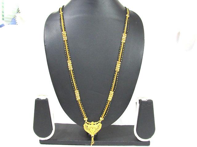 Buy Long Golden Pendant 3 Layer Mangalsutra Necklace Online