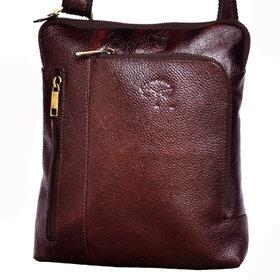 Tamanna Men  Women Brown Genuine Leather Sling Bag