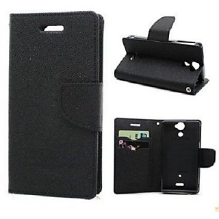 CHL Imported Mercury Fancy Wallet Dairy Flip Case Cover for Vivo Y51 L - Black