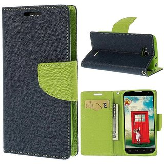 CHL Imported Mercury Fancy Wallet Dairy Flip Case Cover for Lenovo A6600 - Blue Green