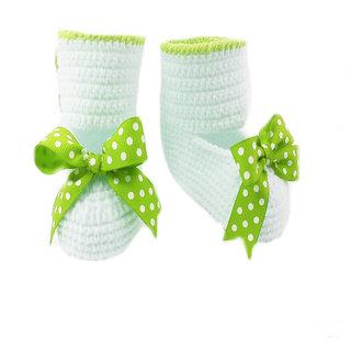 Baby Booties Handmade Crochet Baby Shoes   cream green