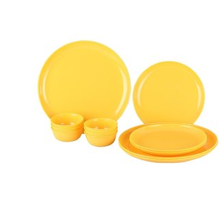 Kanha 6 Pcs Microwave Safe Dinner Set For Office Or Home, Yellow Color (3Plates + 3 Bowls )