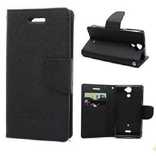CHL Imported Mercury Fancy Wallet Dairy Flip Case Cover for Gionee S6s - Black