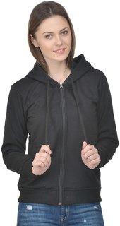 Raabta Fashion Black Fleece Pullovers Jacket For Women