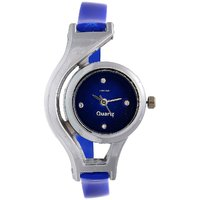 Round Dial Blue Leather Analog Watch For Women