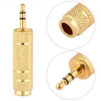 DOMO nSpeed C65T35 6.5mm and 6.35mm Female to 3.5mm Male Plug Stereo Audio Jack Adapter Converter Connector Golden