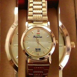 HMT Round Dial Gold Metal Strap Quartz Watch For Men