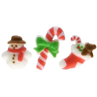 Lucks Dec-Ons Molded Sugar/Cup-Cake Topper, Merry Minis, 1 - 1 1/4 Inch, 12 Count