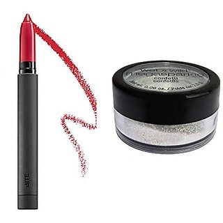 Bite Beauty Best Bite Redux Deluxe Matte Crme Lip Crayon in Fraise - jewel red 0.03 oz/ 0.91 mL and a free gift of wet'n wild shimmer dust