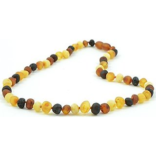 Raw Amber Necklace for Adults - 17.7 Inches - Multi Color - Baltic Amber Land - Hand-made From Unpolished / Certified Baltic Amber Beads - Knotted - Screw Clasp (Multicolor)