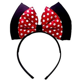 Black and Red Dot Center Princess Bow Headband ;H2 (Black)