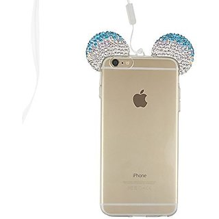 S&C Luxury Girl's Gift 3D DIY Diamond Bling Crystal Rhinestone Lovely Mickey Ear Design Transparent TPU Shell Phone Case Cover for iPhone 6Plus 6S Plus (5.5