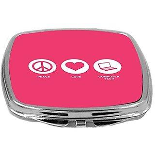 Rikki Knight Peace Love Computer Tech Design Compact Mirror, Tropical Pink, 2 Ounce
