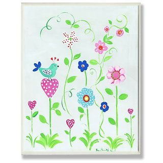 The Kids Room by Stupell Blue Bird Perched on Polka Dot Heart Flower Rectangle Wall Plaque