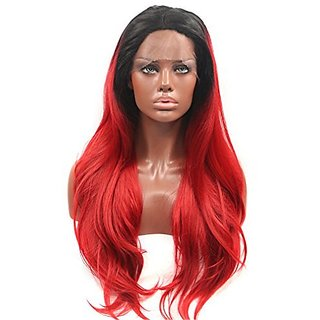 Sotica Red Ombre Women's Long Straight Lace Front Wigs Ladies Black Root Heat Resistant Synthetic Hair Wig