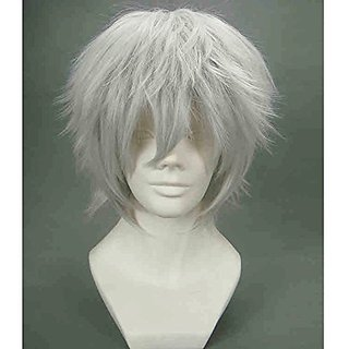 RightOn Men's Short Straight Cosplay Costume Party Wigs with Wig Cap (Light Grey)