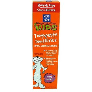Kiss My Face Kids Fluoride Free Toothpaste, Berry Smart, 4 Ounce Tubes (Pack of 6)