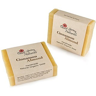 Natural Organic Handmade Cinnamon Almond Bar Soap by Desert Spring Naturals Made With Organic Olive Oil (2 Bar Set)