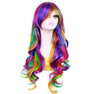 Women 27'' Long Rainbow Big Wavy Ombre Spring Bouquet Cosplay Party Wig Harajuku Style Lolita Spiral Colorful Heat Resistant Fiber Synthetic Wig