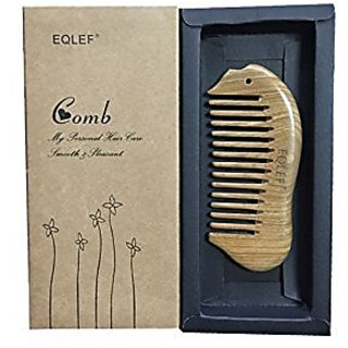 EQLEF Fish shape Beard Comb Wooden Comb wide Tooth Green Sandalwood Pocket Comb Small Hair Comb Hair Brush