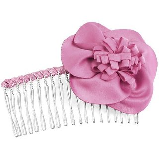 Women Hairdressing Rose Pink Flower Decor Metal Hair Comb
