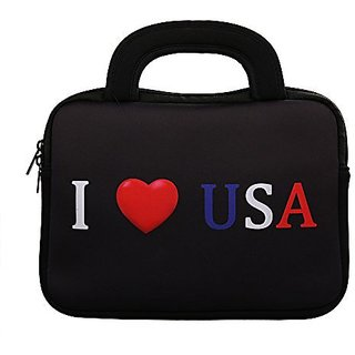 E - Living 7-8.4 Inch / 8.9-9 Inch / 10.1 Inch / 11.6-12.5 Inch / 13-13.3 Inch / 14-14.1 Inch / 15-15.6 Inch Neoprene Sleeve / Case / Bag / Cover with Handle (I Love USA, 7 - 8 Inch)