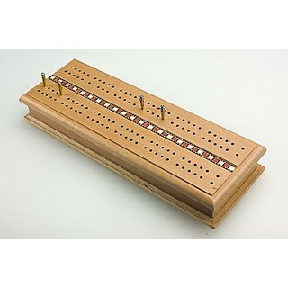 Sterling Games Wooden Deluxe Cribbage Box with Card Storage