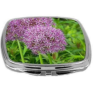Rikki Knight Compact Mirror, Purple allium Flowers