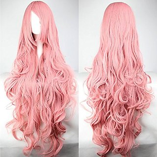 B-G 100cm 40 Inches Long Curly Heat Resistant Synthetic Hair Wigs For Women Cosplay Party Wigs Lolita wigs (Pink) + 1 Free Wig Cap WIG092P