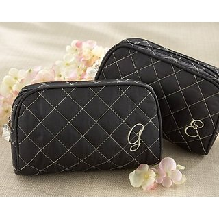 Kate Aspen Cosmetic Couture QuiltedMonogrammed Make-Up Bag, Letter V