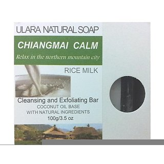 Natural Rice Milk Soap - Ulara Chiangmai Calm - 100g/3.5oz - Made with Pure Coconut Oil