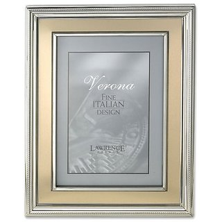 Lawrence Frames 4 by 6-Inch Silver Plated Metal Picture Frame, Brushed Gold Inner Panel