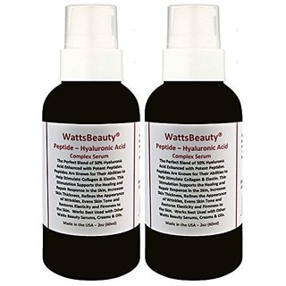 Watts Beauty Peptide Firming Wrinkle & Collagen Booster with Hyaluronic Acid, L - Arginine & Potent Peptides - USA - 4oz
