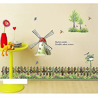 iNewcow Tiny Tots Room Decor Wall Decals Stickers Wallpapers Wall Pops For Kindergarten/Nursery(Romantic Windmill Butterfly Beautiful natural scenery)