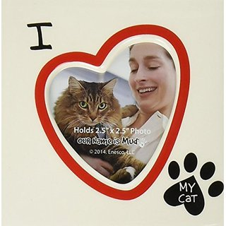 Enesco Our Name is Mud by Lorrie Veasey I Heart My Cat Photo Frame, 4.13-Inch