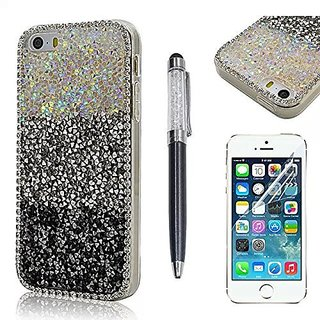 Seedan Iphone 5 5S case Black and White Stripes Bling Crystal Diamond Soft Case for Iphone 5S Iphone 5 Back Cover with HD Clear Screen Protector Display and Capacitive Stylus & Ballpoint Pen