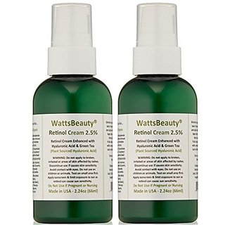 Watts Beauty 2.5% Retinol Cream - Anti Aging Retinol Enhanced with Hyaluronic Acid, Vitamin E & Phospholipids - Works Wonders on Large Pores, Blemishes, Uneven Skin Tone, Acne, Dull Skin & Aging Skin