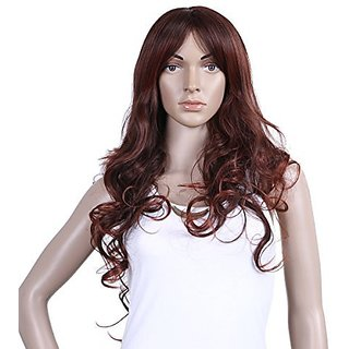 Damara Womens Long Hair Trendy Curly Party Wave Natural Full Wig,Wine Red