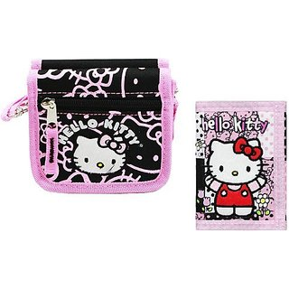 Super Cute Combo Pack SET of Stylish Designs- Hello Kitty Embroidered Applique String Wallet Dimension: 5 X 4.5 X 1.5 and Tri-fold Wallet Dimension: 4.5 X 3.5 for Ages 3 and Up