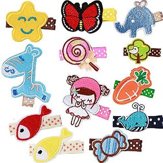 Prohouse 12pcs Embroidered Design Fabric Hair Clip Accessories Barrettes for Baby Girls Toddlers Kids