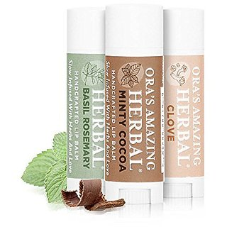 Therapeutic Intensive Lip Repair Treatment Balm With Gentle Aromatherapy 3 pak - Herbal Infused, BPA And Paraben Free, non GMO, Ora's Amazing Herbal, Minty Cocoa/clove/basil Rosemary