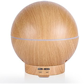 NexGadget 400ml Essential Oil Diffuser Wood Grain Spherial Aroma Diffuser Cool Mist Humidifier With Color LED Lights Changing for Home, Office, Spa, Bedroom, Baby Room